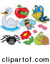 Vector Clip Art of a Digital Group of a Swan, Caterpillar, Butterfly, Bee, Flowers, Snail and Spider by Visekart