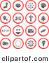 Vector Clip Art of a Digital Set of Red, Gray and White Rounded Buttons by Prawny