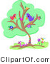 Vector Clip Art of a Flowering Green Tree with Two Birds, a Worm and a Honey Bee by Bpearth