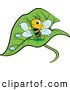 Vector Clip Art of a Friendly Cute Bee Holding a Green Crayon on a Wet Leaf by Lal Perera