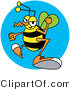 Vector Clip Art of a Grumpy Yellow Wasp with Clenched Fists by Andy Nortnik