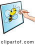 Vector Clip Art of a Illustrator Drawing a Portrait of a Bee by Lal Perera