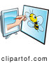 Vector Clip Art of a Illustrator Reaching Through a Computer Screen, Drawing a Picture of a Bee by Lal Perera