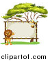 Vector Clip Art of a Male Lion and Bee with a Stretched Sign by Graphics RF