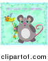 Vector Clip Art of a Mouse Holding a Bee Wand Under Help Save the Honeybees Text by Bpearth