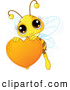 Vector Clip Art of a Smiling Cute Bee Holding a Honey Valentine Heart by Pushkin