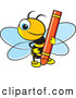 Vector Clip Art of a Smiling Cute Bee Holding a Red Crayon by Lal Perera