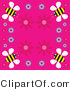 Vector Clip Art of a Solid Pink Background Bordered with Flowers and Yellow Bees by Prawny