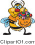 Vector Clip Art of a Yellow and Black Trick or Treating Bumble Bee Holding a Pumpkin Basket Full of Halloween Candy by Dennis Holmes Designs