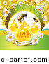 Vector Clip Art of Bees over Honey Drops Combs and Daisies with Dew and a Guaranteed Banner by Merlinul