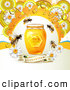 Vector Clip Art of Bees with a Honey Jar Dew and Daisies over a Guaranteed Banner by Merlinul
