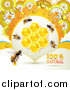 Vector Clip Art of Bees with Combs and Daisies by Merlinul