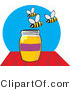 Vector Clip Art of Happy Bees over a Honey Jar by David Rey