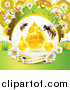 Vector Clip Art of Honey Bees with a Comb and Daisies with Dew and a Guaranteed Banner by Merlinul