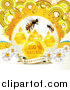 Vector Clip Art of Honey Bees with Droplets Combs and Daisies with Dew and a Guaranteed Banner by Merlinul