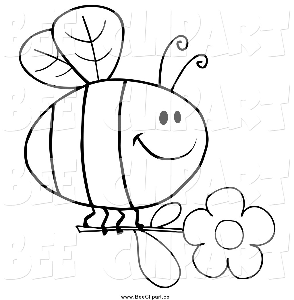 Cartoon vector clip art of a black and white happy bee flying with a cartoon vector clip art of a black and white happy bee flying with a daisy flower izmirmasajfo Gallery